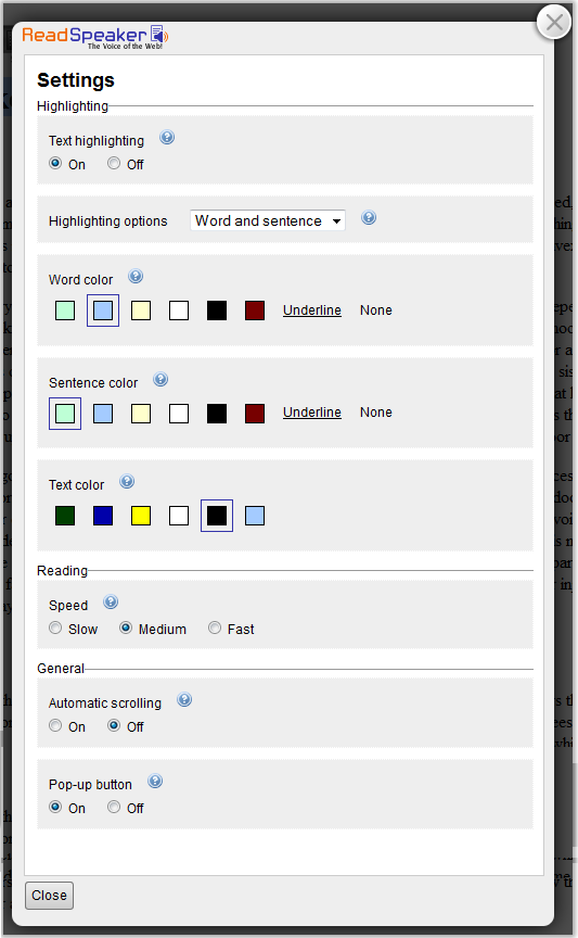 Screenshot of the settings page